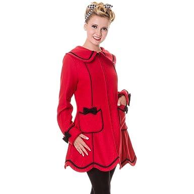 Banned - Abrigo de Retro Mujer con lazos y abrigo de piel sintética Cuello - Lazos Coat Rojo: Amazon.es: Ropa y accesorios