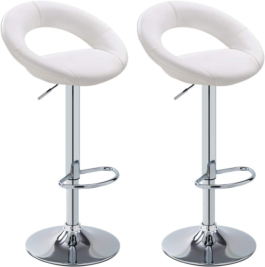Duhome Bar Stools,Modern Swivel Adjustable Barstool, PU Leather Backless Stools, with Chrome Plated Footrest and Base, for Kitchen, Bistro, Pub, White Set of 2