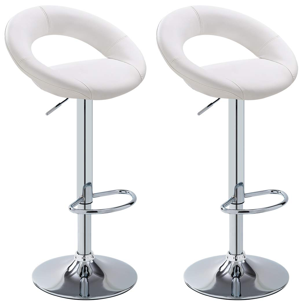 Bar Stool Set of 2 WY-171B Crescent Adjustable Bar Stools with Faux Leather Seat Duhome White