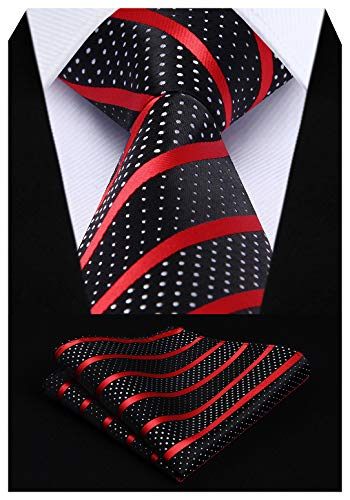 HISDERN Extra Long Striped Tie Handkerchief Men's Necktie & Pocket Square Set (Red & Black)
