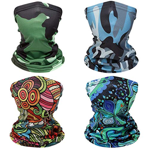 Musommer 4pcs Kids Neck Gaiter Kid's Face Bandana Childrens Headband Face Scarf for Cycling Sport Outdoor (4pcs, O)