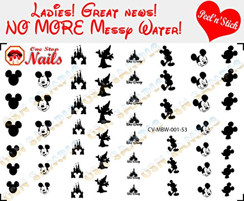 Mickey Disney Black and White V1. Set of 53 clear vinyl Peel and Stick nail art decals/stickers (NOT Waterslide) by One Stop Nails.