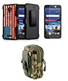 Dual Layer Belt Holster Kickstand Case (Vintage America) Bundle with ACU Camo Carrying EDC MOLLE Waist Bag Holder Pouch, Glass Screen Protector, Atom Cloth for Alcatel Raven LTE A574BL