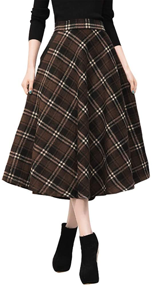 50s Skirt Styles | Poodle Skirts, Circle Skirts, Pencil Skirts 1950s IDEALSANXUN Womens High Elastic Waist Maxi Skirt A-line Plaid Winter Warm Flare Long Skirt $39.99 AT vintagedancer.com