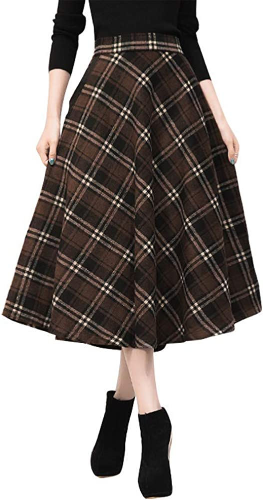 1930s Style Skirts : Midi Skirts, Tea Length, Pleated IDEALSANXUN Womens High Elastic Waist Maxi Skirt A-line Plaid Winter Warm Flare Long Skirt $39.99 AT vintagedancer.com