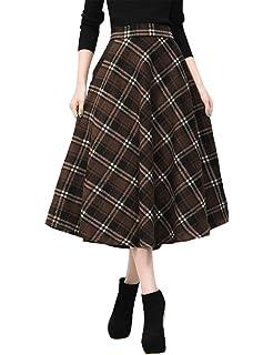 7e0b79ef13c2 IDEALSANXUN Womens High Elastic Waist Maxi Skirt A-line Plaid Winter Warm  Flare Long Skirt