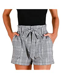 Fashion Shorts for Women 2018, Women Plaid Summer Casual Shorts Tie Waist Shorts Trousers Hot Pants (L, Gray)