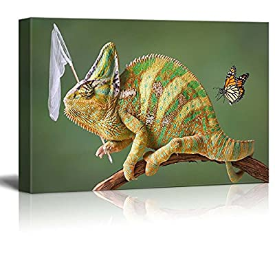 Canvas Prints Wall Art - A Veiled Chameleon is Trying to Catch Some Butterflies - 12