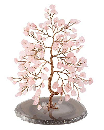 Top Plaza Rose Quartz Healing Crystals Copper Money Tree Wrapped On Natural Agate Slices Geode Base Luck Reiki Feng Shui Figurine Statue