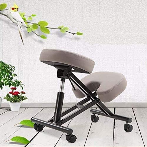 Chaise à genoux Tabouret de bureau réglable Pompe pneumatique Siège incliné confortable et épais Aide à prévenir la douleur au coccyx pour un dos sain et une posture droite, gris