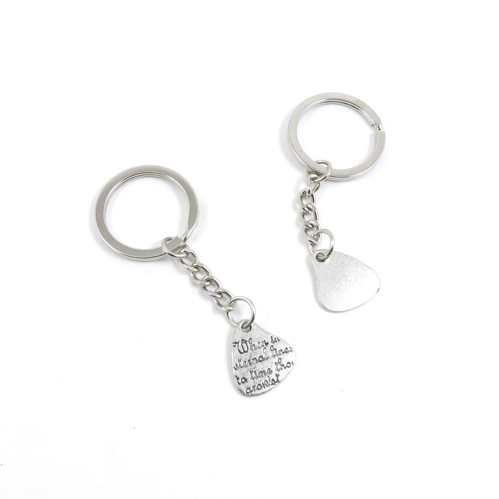 100 Pieces Keychain Door Car Key Chain Tags Keyring Ring Chain Keychain Supplies Antique Silver Tone Wholesale Bulk Lots Z3NX3 Heart Sign Tag