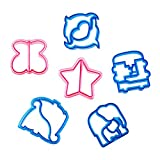 Bondream 6 Piece Kids Sandwich Cookie Cutter Bread Crust Cutters in Adorable Animal Shapes - Dolphin, Elephants, Dinosaurs, Butterflies, Puzzle and Star - Make Kids Lunchtime Fun