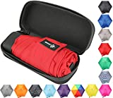 Travel Umbrella with Waterproof Case - Small, Compact Umbrella for Backpacks, Purses, Briefcases or Cars - Versatile, Unisex Design - Made with Water-Resistant Pongee Fabric - Premium Quality - Red