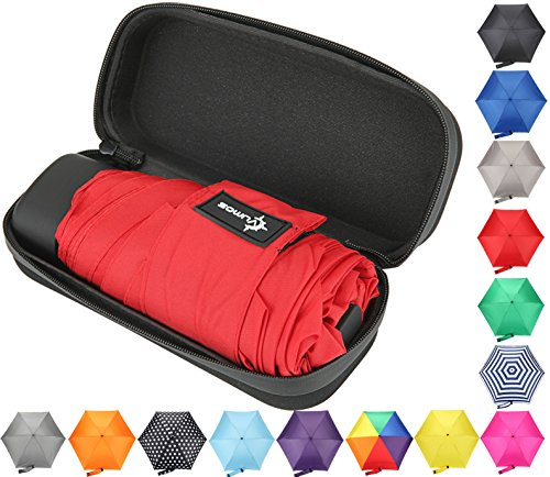 Travel Umbrella with Waterproof Case - Small, Compact Umbrella for Backpacks, Purses, Briefcases or Cars - Versatile, Unisex Design - Made with Water-Resistant Pongee Fabric - Premium Quality - Red by Vumos
