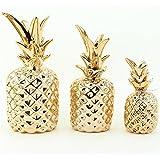 Kit Trio Abacaxi Dourado Cerâmica Decorativo 3 Peças Mart