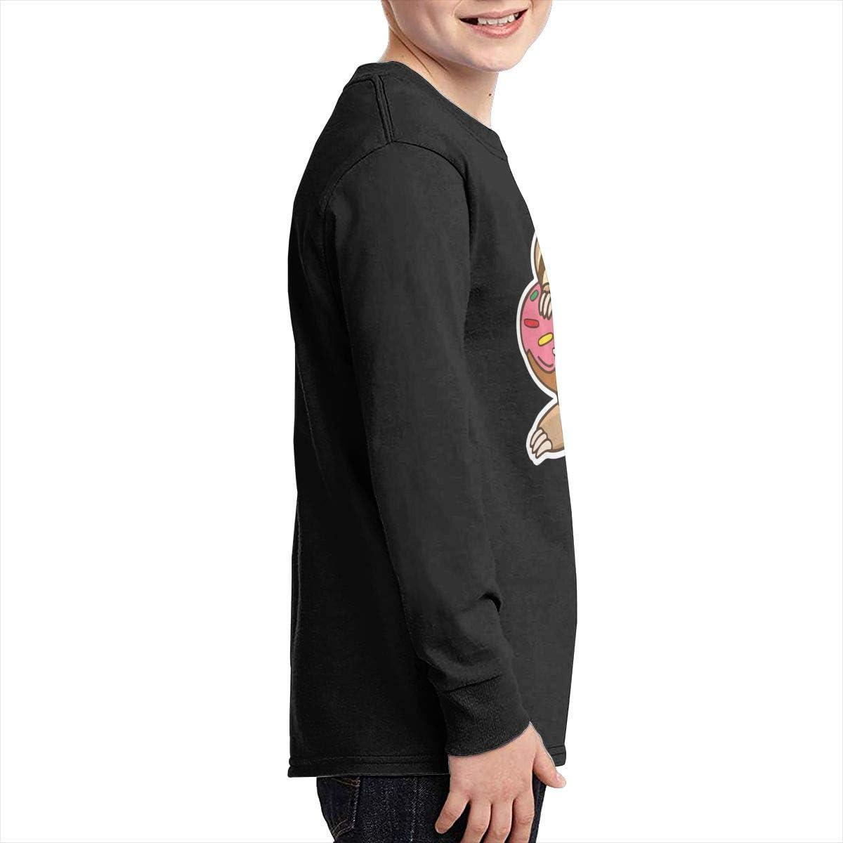 CERTONGCXTS Teen Sloth Donut ComfortSoft Long Sleeve T-Shirt