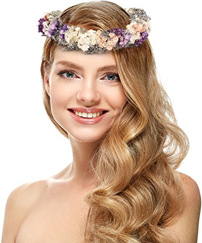 [Flower headband – Vintage Floral Headband – Elegant Flower Crown for Women – Perfect for Wedding Festivals, Casual wears & Photography (Purple)] (Jasmine Brown Adult Womens Wig)