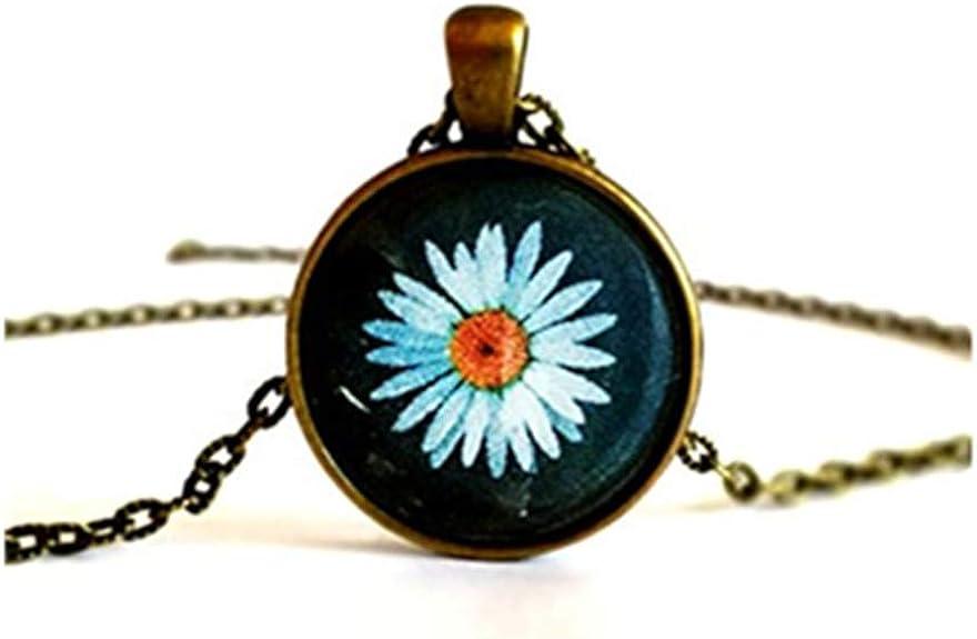 Daisy Flower Hippie Cabochon Bild Halskette Anhänger Brosche