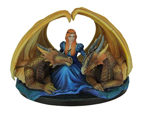 Veronese Design Resin Statues Anne Stokes Fierce Loyalty Maiden With Dragons Hand Painted Statue 8 X 5.75 X 6.5 Inches Orange