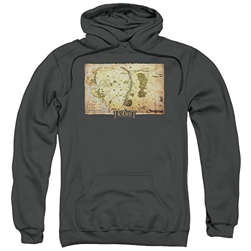 The Hobbit Middle Earth Map Unisex Adult Pull-Over Hoodie for Men and Women, Small Charcoal