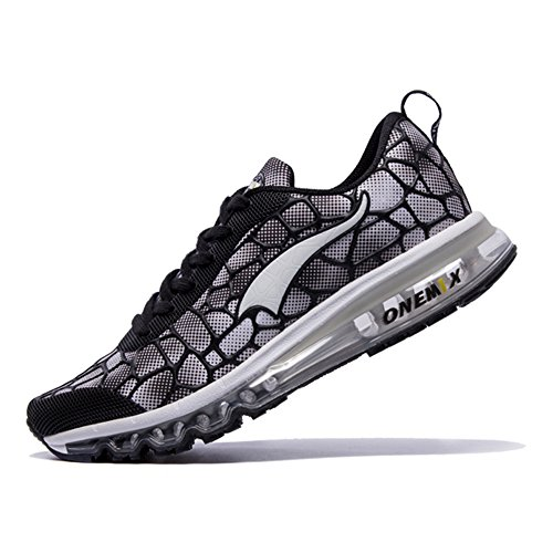 Onemix Mens Womens Air Sneakers Breathable Trainers Unisex Adult Sports Walking Shoes Black White nl9P51KO