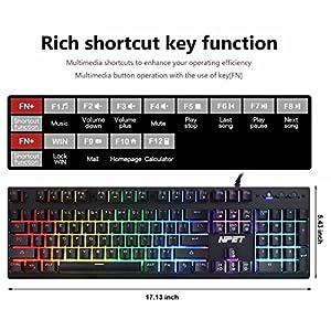 NPET P010 Wired RGB Backlit Floating Gaming Keyboard Mechanical-Similar Typing Gaming Experience Professional Membrane Keyboard for PC/Laptop/Desktop/Computer