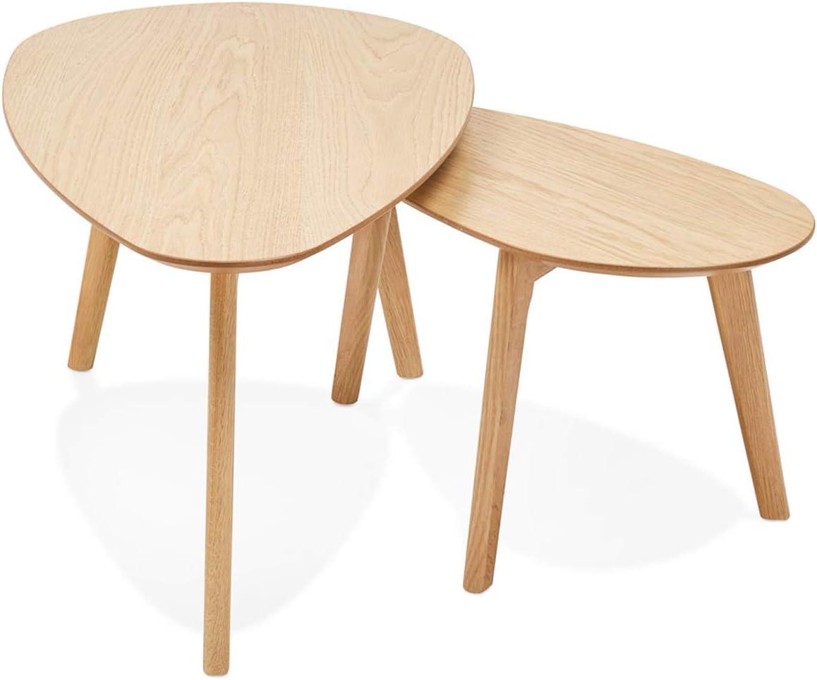 PEGANE Lot de 2 Tables gigognes en MDF et m/étal Coloris Gris H 40 x L 45,5 x l 35 cm Dim