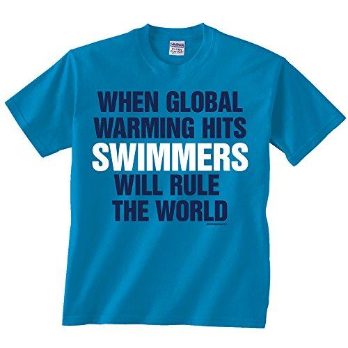 Swimming Global Warming T-shirt Adult Small Sapphire