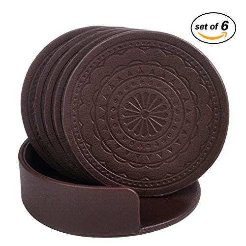 Coasters for Drinks,PU Leather Coasters Set of 6 with Holder for Coffee Tea Cups Mugs Round Brown (Cups Coffee Glass Brown)