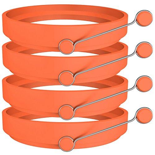 Egg Rings, Ozera 4 Pack Silicone Round Egg Rings Cooker Maker, Non Stick Fried Egg Ring for Frying Eggs - Orange