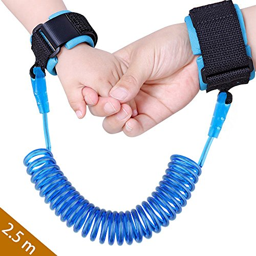 Baby Child Anti Lost Safety Wrist Link Harness Strap Rope Backpack Leash Walking Hand Belt Band Wristband for Toddlers, Kids(2.5m Blue) (Child Leash Wrist)