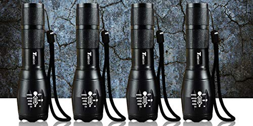 Timlon 4 Pack Tactical Flashlight Portable Emergency Flashlight 5 Mode Switch Adjustable Focus Zoomble Flashlights XML-T6 Ultra Bright 2000Lumen Aluminum Alloy Waterproof Flashlights(Black)