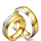 His & Men's Ring For Love Titanium 18K Gold-Plated Wedding Engagement Band 6mm US Size 10.5