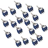 Musiclily 3 Position Switch AC125V 6A Mini Electric Selector Nickel Toggle Switch DPDT On-OFF-ON, Blue(Pack of 20)