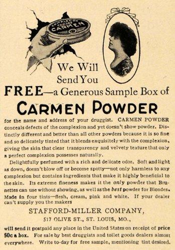 Carmen Olive (1908 Ad Carmen Powder Stafford-Miller Company Concealer - Original Print Ad)