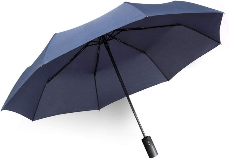 YSLJH Pure Color Umbrella Automatic Umbrella Folding to Increase Men Women Windproof Reinforcement Enhanced Portable Two-Color Optional Color : Black