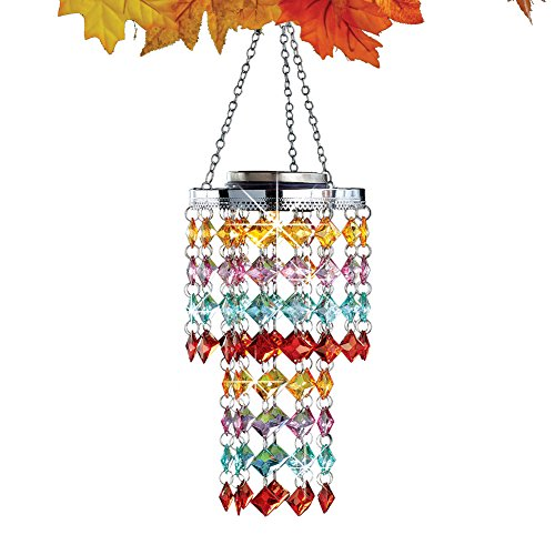 Collections Etc Autumn Shades Outdoor Solar Chandelier Garden Décor, Multicolored Jewel Beads with Hanging Chain and Hook