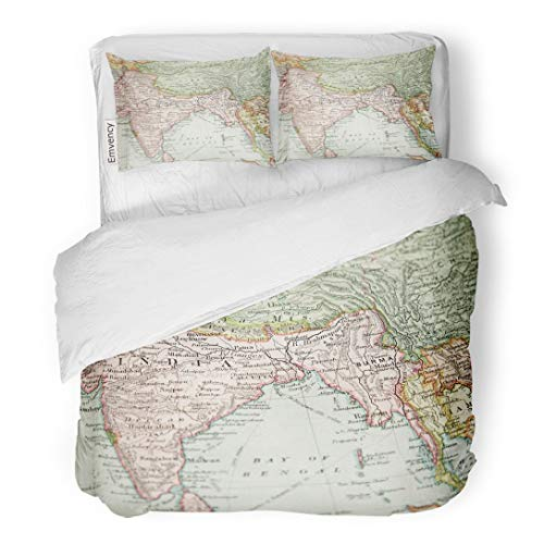 Tarolo Bedding Duvet Cover Set India Vintage 1907 Copyrighted Expired Map of Europe and Asia Antique Old Myanmar 3 Piece Queen 90