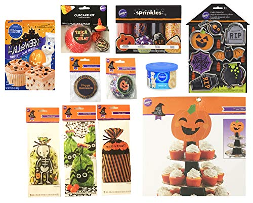 Halloween Baking and Treat Kits! Halloween Cupcake Mix, Halloween Cookie Cutters, Halloween Treat Bags - Halloween Party Supplies! (Wilton Scary Good Treats Halloween Baking Kit) -