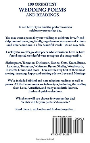 100 Greatest Wedding Poems And Readings The Most Romantic From Best Writers In History Richard Happer 9780956242891 Amazon Books