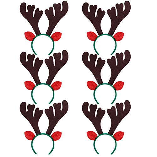 Reindeer Antlers Headband, Fascigrl 6Pcs Christmas Easter Holiday Party Hairhoops Gifts for Adult Girls Kids (Coffee reindeer with green hairband)]()
