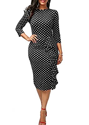 Mystry Zone Women's Sexy Bodycon 3/4 Sleeve Polka Dot Ruffles Evening Party Pencil Midi Dress