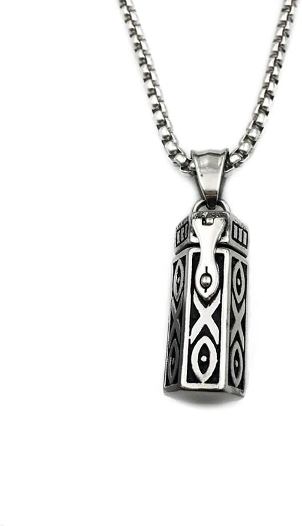 ZSH Ashes Urns Titanium Steel Openable Pendant Necklace Can Be Filled with Perfume or Ashes to Commemorate Your Loved Ones or Pet Silver Pendant Cremation Urn (Size : with a Chain of 70cm Length)