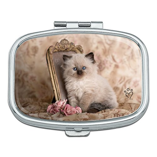Pill Trinket Box (Ragdoll Tiffany Cat Kitten Victorian Roses Rectangle Pill Case Trinket Gift Box)