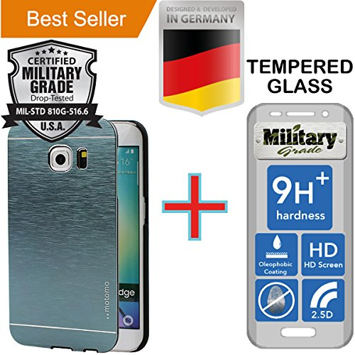 Samsung Galaxy S6 Edge [5.1] Pack [Slim Aluminum] Case + [Tempered Glass] Screen Protector [Dual Layer] Cover [Shock Resistant] Alloy Brushed [Absorbent Bumper] PVC [INO Metal] Skin [Motomo] Gray by MyNovation
