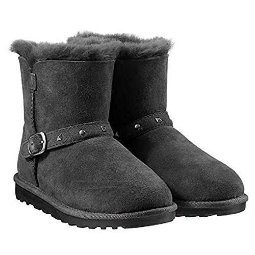 Kirkland Signature Girls Shearling Buckle Boots with Studs (Black, 2)