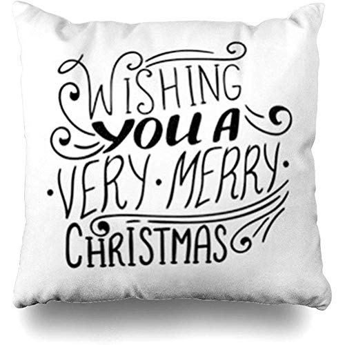 Throw Pillow Covers Vintage Text Wishing You Very Merry Christmas Quote Script Holidays Lettering Year Black Brush Pillowcase Square Size 18 x 18 Inches Decor Cushion Home Cases (Christmas Quotes Wishing Merry)