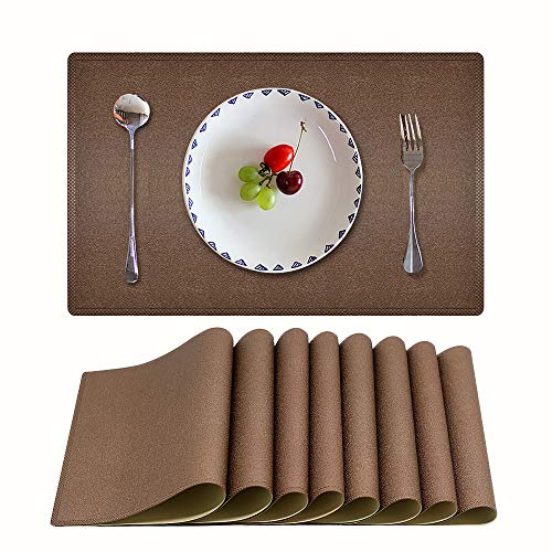 Candumy Coffee Table Mats PU Leather Placemats for Dining Table Heat & Stain Resistant for Kitchen Dining Table, Easy to Clean Non-Slip Waterproof Tablemats Set of 8 (Bown, 17.7