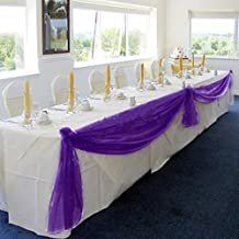 """Whitelotous 197""""x 55"""" Organza Table Runners Wedding Party Banquet Decoration (Purple)"""