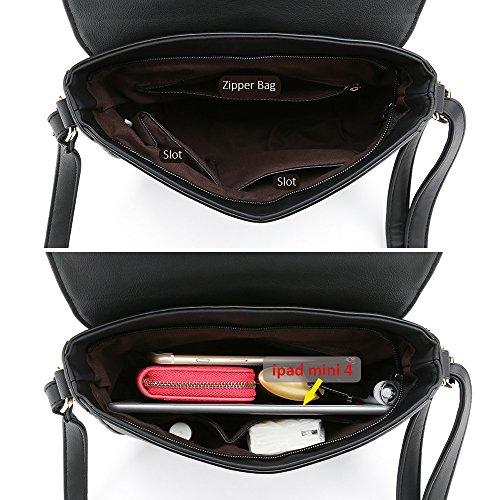 c915654a597c Casual Small Crossbody Saddle Bags for Women Shoulder Purse Designer  Handbags (Black)